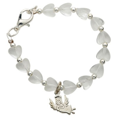 White Heart Baby Bracelet with Guardian Angel Charm - White