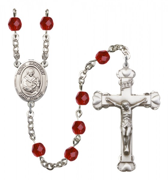 Women's St. Norbert of Xanten Birthstone Rosary - Ruby Red