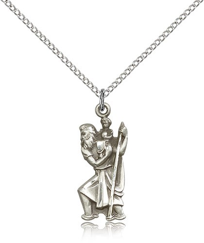 Figure of St. Christopher Necklace - Sterling Silver
