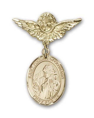 Pin Badge with St. Finnian of Clonard Charm and Angel with Smaller Wings Badge Pin - 14K Yellow Gold