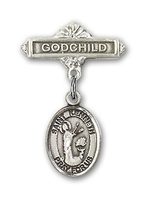 Pin Badge with St. Kenneth Charm and Godchild Badge Pin - Silver tone