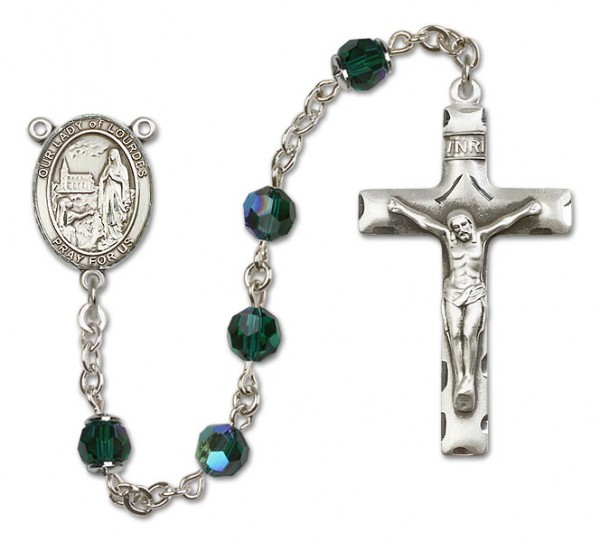 Our Lady of Lourdes Rosary Heirloom Squared Crucifix - Emerald Green
