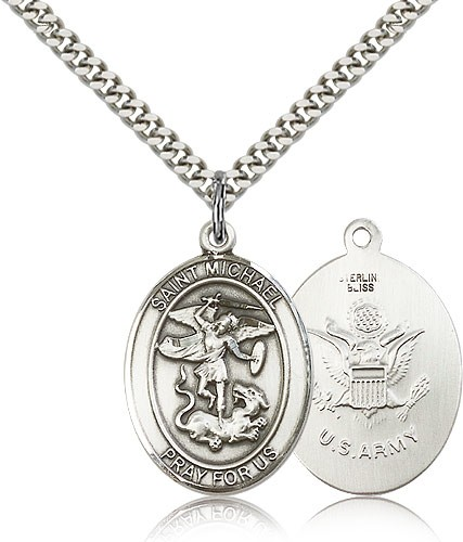St. Michael Army Medal - Sterling Silver