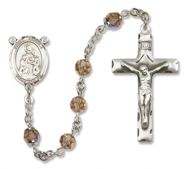 St. Angela Merici Rosary Heirloom Squared Crucifix - Topaz