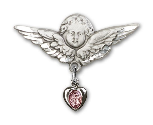 Sterling Silver Baby Pin with Pink Enamel Miraculous Charm and Angel with Larger Wings - Sterling Silver | Pink Enamel
