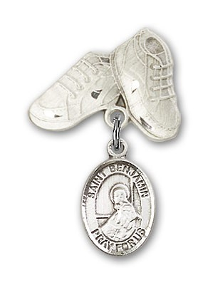 Pin Badge with St. Benjamin Charm and Baby Boots Pin - Silver tone