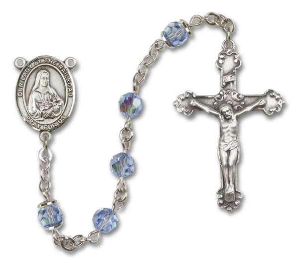 Our Lady of the Railroad Sterling Silver Heirloom Rosary Fancy Crucifix - Light Sapphire
