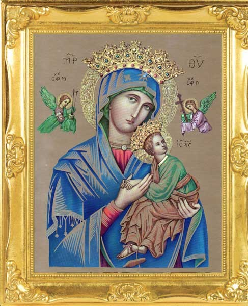 Our Lady of Perpetual Help Gold Leaf Framed Print - Full Color