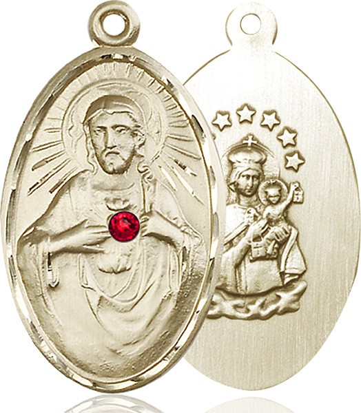 Large Oval Sacred Heart Pendant with Birthstone Options - 14K Yellow Gold