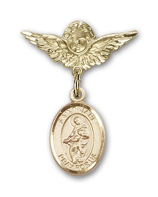 Pin Badge with St. Jane of Valois Charm and Angel with Smaller Wings Badge Pin - 14K Solid Gold