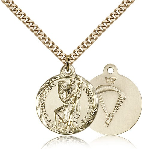 Paratrooper St. Christopher Medal - 14KT Gold Filled