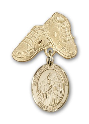 Pin Badge with St. Finnian of Clonard Charm and Baby Boots Pin - 14K Solid Gold