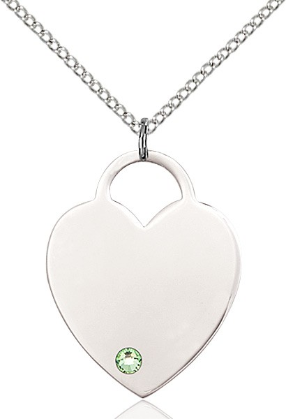 Large Women's Heart Pendant with Birthstone Options - Peridot