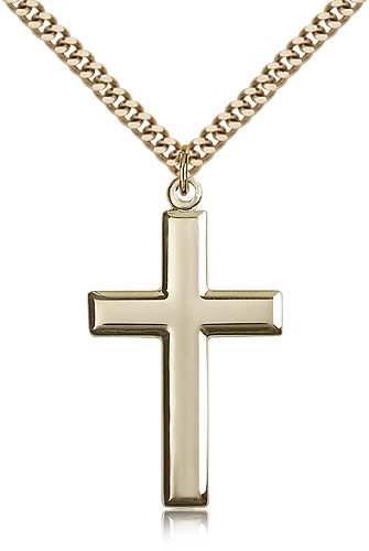 Men's High Polish Cross Pendant Beveled Edge - 14KT Gold Filled