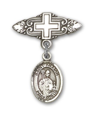 Pin Badge with St. Kilian Charm and Badge Pin with Cross - Silver tone