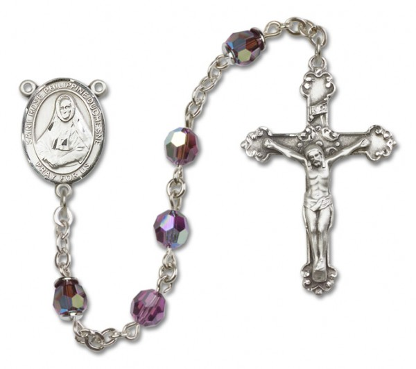 St. Rose Philippine Sterling Silver Heirloom Rosary Fancy Crucifix - Amethyst