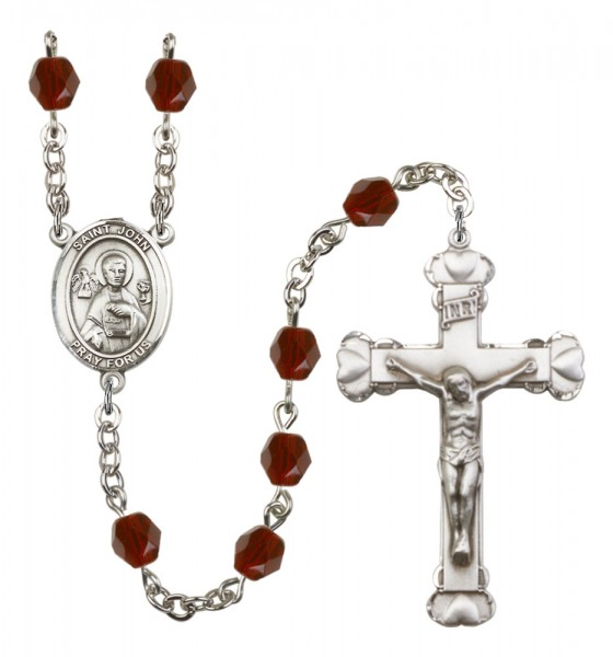 Women's St. John the Apostle Birthstone Rosary - Garnet