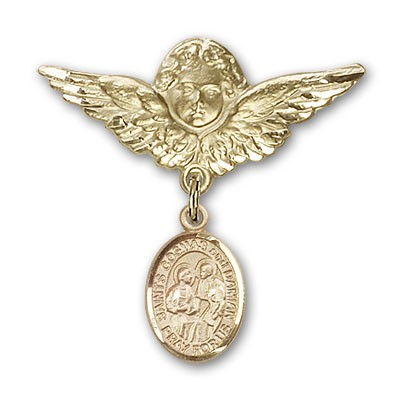 Pin Badge with Sts. Cosmas & Damian Charm and Angel with Larger Wings Badge Pin - Gold Tone