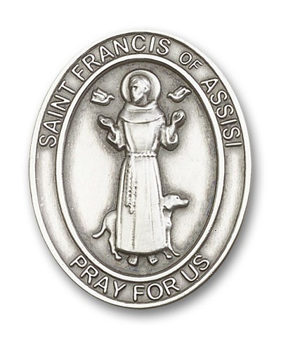 St. Francis of Assisi Visor Clip - Antique Silver