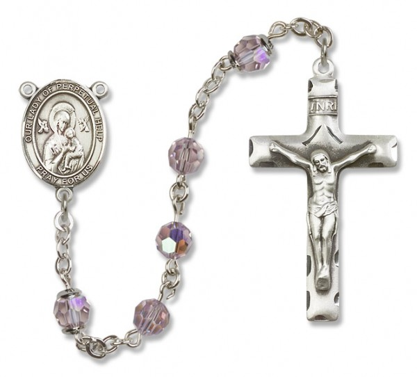 Our Lady of Perpetual Help Rosary Heirloom Squared Crucifix - Light Amethyst