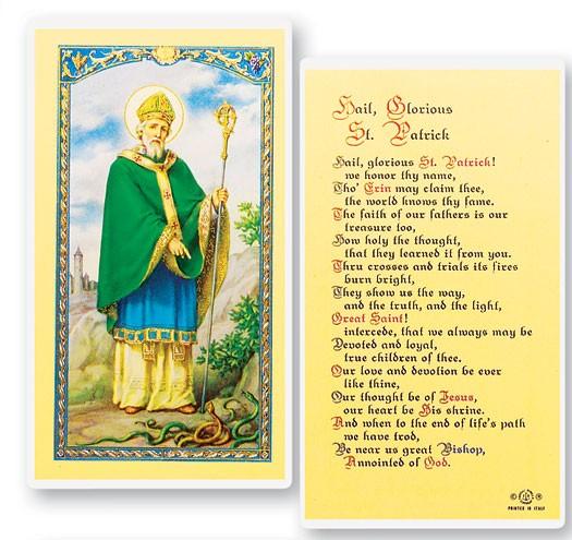 St Patrick Hail Glorious Saint Laminated Prayer Cards 25 Pack