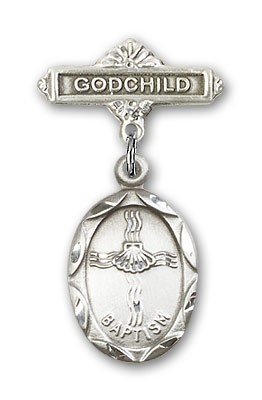 Baby Pin with Baptism Charm and Godchild Badge Pin - Silver tone