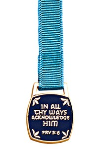 In All Thy Ways Acknowledge Him Bookmark - 12 Ribbon Colors Available - Aqua