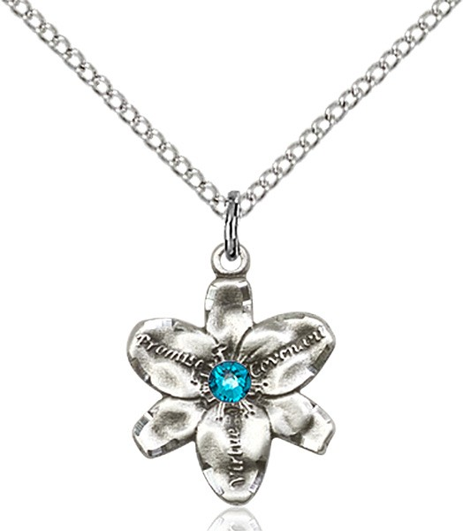 Small Five Petal Chastity Pendant with Birthstone Center - Zircon