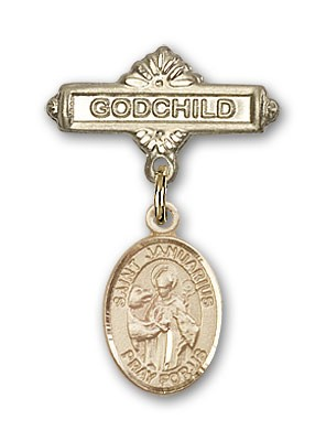 Pin Badge with St. Januarius Charm and Godchild Badge Pin - 14K Yellow Gold