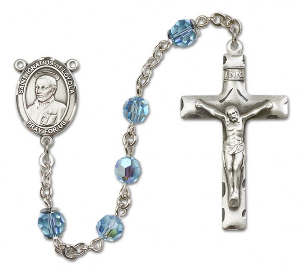 St. Ignatius of Loyola Sterling Silver Heirloom Rosary Squared Crucifix - Aqua