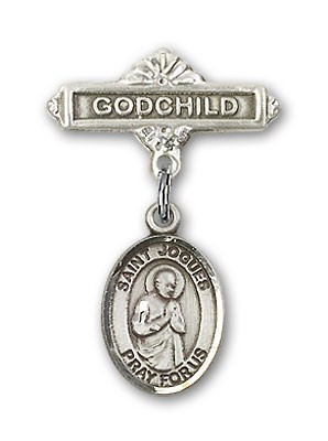 Pin Badge with St. Isaac Jogues Charm and Godchild Badge Pin - Silver tone