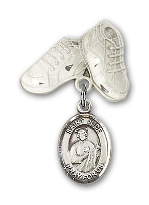 Pin Badge with St. Jude Thaddeus Charm and Baby Boots Pin - Silver tone