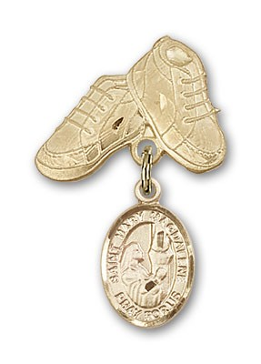 Pin Badge with St. Mary Magdalene Charm and Baby Boots Pin - 14K Yellow Gold