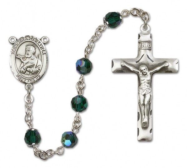 St. Francis Xavier Sterling Silver Heirloom Rosary Squared Crucifix - Emerald Green