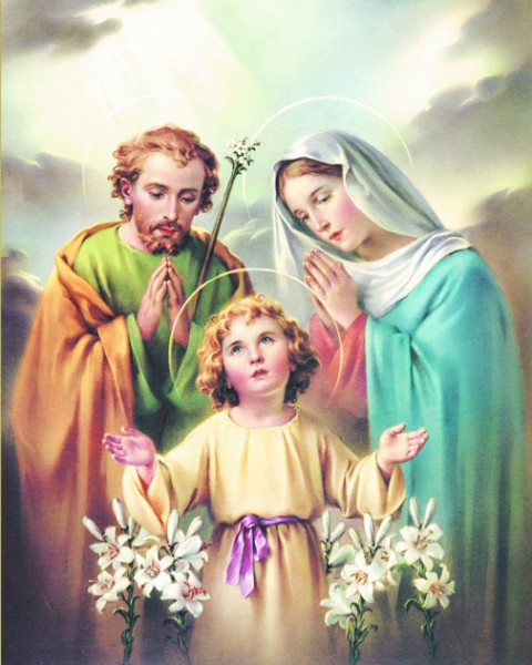 Holy Family Print - Sold in 3 per pack - Multi-Color