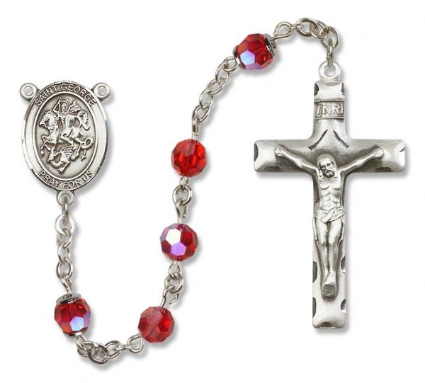 St. George Sterling Silver Heirloom Rosary Squared Crucifix - Ruby Red