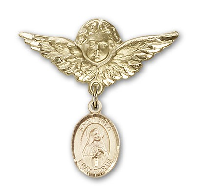 Pin Badge with St. Rita of Cascia Charm and Angel with Larger Wings Badge Pin - 14K Yellow Gold