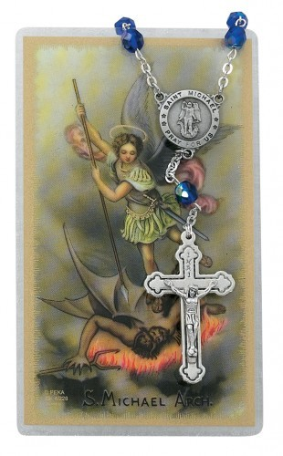 St. Michael Auto Rosary with Prayer Card - Blue