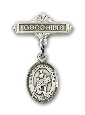 Pin Badge with St. Martin of Tours Charm and Godchild Badge Pin - Silver tone