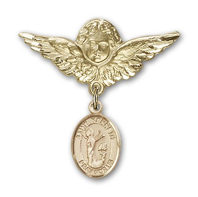Pin Badge with St. Kenneth Charm and Angel with Larger Wings Badge Pin - 14K Solid Gold