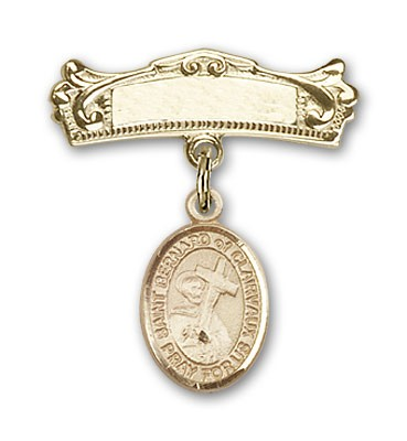 Pin Badge with St. Bernard of Clairvaux Charm and Arched Polished Engravable Badge Pin - Gold Tone