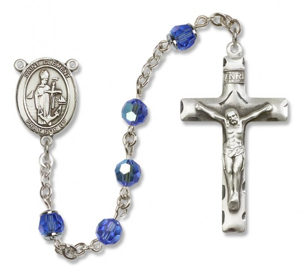 St. Clement Sterling Silver Heirloom Rosary Squared Crucifix - Sapphire