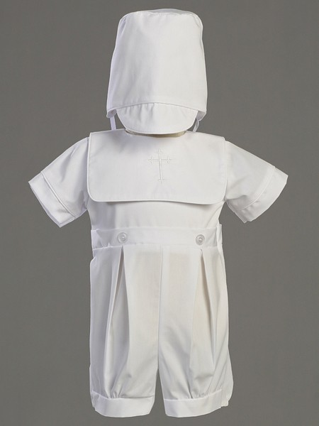 Zachary Poly Cotton Baptism Romper Set - White