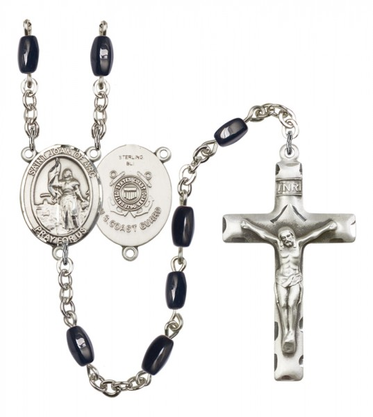 Men's St. Joan of Arc  Coast Guard Silver Plated Rosary - Black | Silver