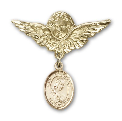 Pin Badge with St. Philomena Charm and Angel with Larger Wings Badge Pin - 14K Solid Gold