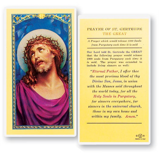 Prayer of St. Gertrude The Great Laminated Prayer Cards 25 Pack - Full Color