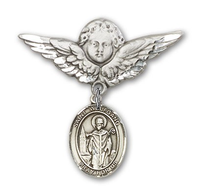 Pin Badge with St. Wolfgang Charm and Angel with Larger Wings Badge Pin - Silver tone