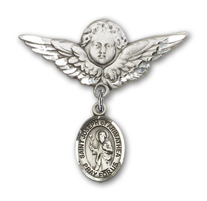 Pin Badge with St. Joseph of Arimathea Charm and Angel with Larger Wings Badge Pin - Silver tone