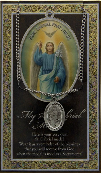 St. Gabriel Medal in Pewter with Bi-Fold Prayer Card - Silver tone