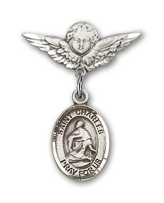 Pin Badge with St. Charles Borromeo Charm and Angel with Smaller Wings Badge Pin - Silver tone